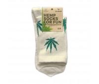 """Носки конопляные """"Socks Logo Hemp"""" белые высокие с логотипом"""
